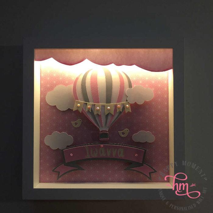 Κάδρο με φως αερόστατο για κορίτσι