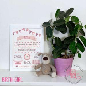 Παιδικό καδράκι με στοιχεία γέννησης